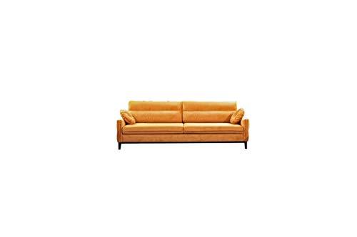 MOEBLO Sofa 3 Sitzer, Couch für Wohnzimmer, Stoff Samt (Velour) Glamour,Polstersofa Wohnlandschaft mit Bettfunktion - Estela (Gelb)