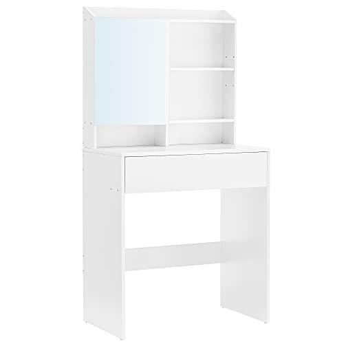 VASAGLE Tocador con Espejo, Mesa de Maquillaje con Armario y cajón con Espejo, Estantes Ajustables, Estilo Moderno, 70 x 40 x 136 cm, Blanco RDT118W01