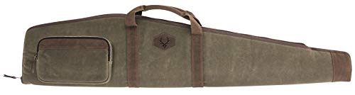 Evolution Outdoor 44347 Rawhide Rifle Case – 48 in., Waxed Canvas, Tall Profile Firearm Bag w/ Plaid Flannel Lining, Zippered Pockets, Webbing Straps