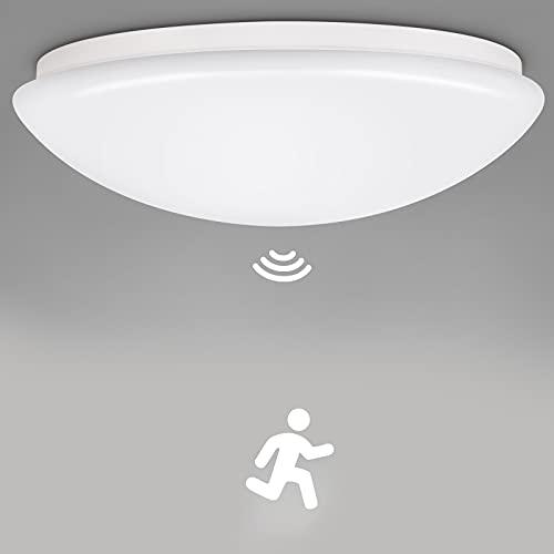 Oraymin Plafonnier à Induction Réglable avec Détecteur de Mouvement Ampoule E27 - Applique Murale avec Capteur de Présence 360° - IP44 Luminaire Intérieure Automatique (N'inclut pas l'ampoule)