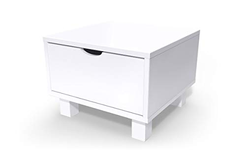 ABC MEUBLES - Table de Chevet Bois Cube + tiroir - CHEVCUB - Blanc