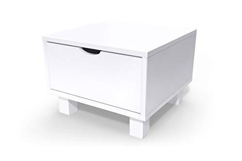 ABC MEUBLES - Chevet Cube tiroir Bois, Couleur: Blanc