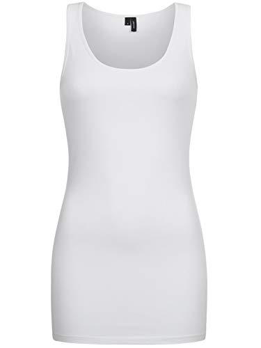 Vero Moda Vmmaxi My Soft Long Tank Top Noos Camiseta sin Mangas, Blanco (Bright White), 42 (Talla del Fabricante: X-Large) para Mujer