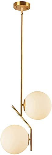 DHFUIH Lámpara Colgante LED de latón con 2 Luces, lámpara de Bola de Cristal Blanca, lámpara Colgante de Techo, lámpara Colgante de Techo Moderna para Cocina, Sala de Estar y Comedor (20 cm)