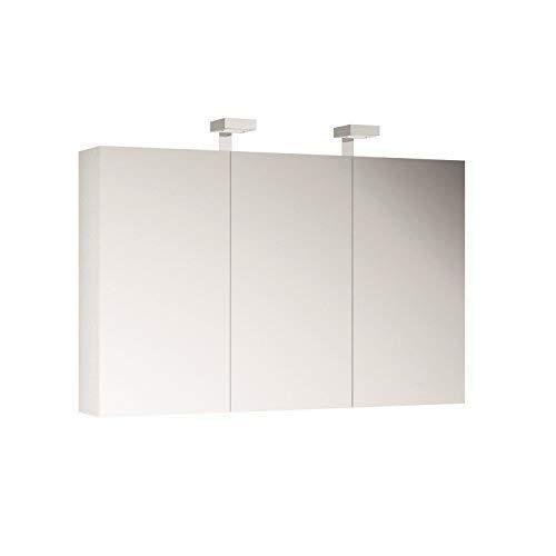 Allibert Spiegelschrank Spiegel Badmöbel vormontiert weiß 120 cm LED Beleuchtung …