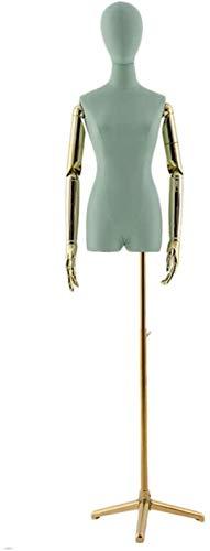 ZSY Maniquíes de Costura Torso PU Cuerpo Manos DE Manos DE Manera DE Ajuste DE Ajuste con EL Tripod DE Oro A LA Pantalla DE JOYERÍA DE Ropa (Color : Green)