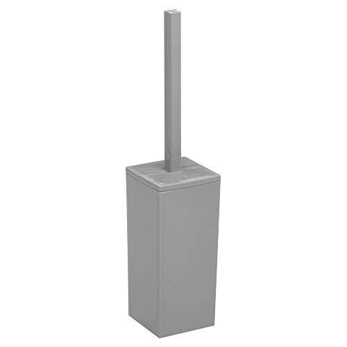 mDesign Scopino bagno in plastica – Scopino WC angolare versatile ideale per il bagno degli ospiti – Pratico portascopino bagno con manico – grigio
