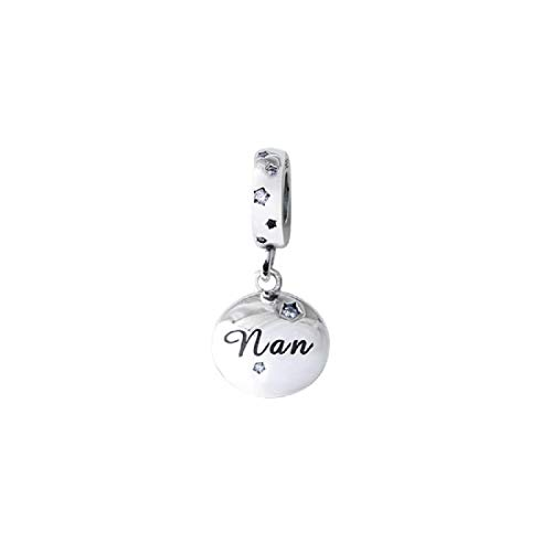FeatherWish Family And Friends Memento 925 Sterling Silver Engraved Pendant Dangle Disc Charms With Cubic Zirconia Compatible With Pandora Bracelet European 3mm Charm Bracelets And Necklace (Nan)
