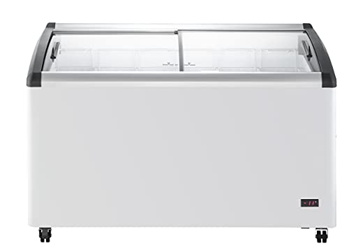 DUURA DDFC15 Commercial Mobile Ice Cream Display Chest Freezer Sub Zero Temp Curved Glass Top Frost Free Lid with 6 Wire Baskets, 53.2 Inch Wide 15.2 Cubic Feet, White