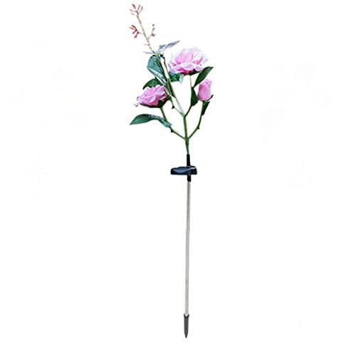 OMMO LEBEINDR Rose Flower solares Luces, Flor del jardín LED Luces de estaca Arte de la lámpara Solar al Aire Libre, Adornos de Luces con la Mariposa 7 Cambio de Color del césped decoración (Rosa)