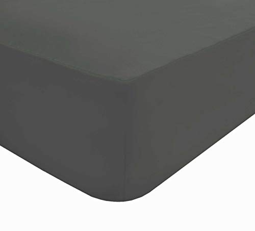 Sleepdown Extra Deep Fitted Sheet 32cm Pocket Easy Care Non-Iron Super Soft Polycotton Bedsheet Bedding Bed Linen - Double - Charcoal Grey