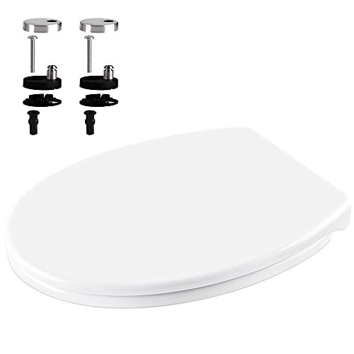 Homewit WC Sitz Toilettendeckel mit Absenkautomatik, abnehmbar Oval-Form universal WC Deckel Klodeckel Toilettenbrille Toilettensitz aus Duroplast, antibakteriell, Topfix, mit Edelstahl-Befestigung