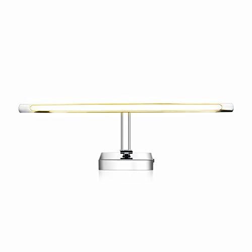 Luxvista 63CM 9W Lámpara de Aplique Espejo Cuarto de Baño LED Interior, Luz de Pared Maquillaje de Estilo Moderno Impermeable Delantera Plata Lámpara Blanco Cálido 3000K iluminación para Gabinete Baño