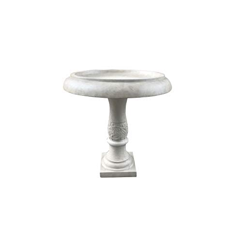 Kante RC01098A-C80091 Lightweight Traditional Flower Diamond Pattern Birdbath, Weathered Concrete