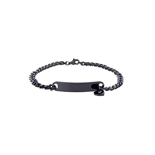 XIANZI Pulseras de la amistad, pulseras para parejas, negro/oro/plata, pulsera con grabado personalizable, con colgante de amor, joyería fina