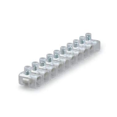 Confezione 100 pezzi Morsetti a Stecche da 10 Pezzi Morsetto Trasparente isolante per cavi elettrici fino a 10 mm (22994-2,5 mm)