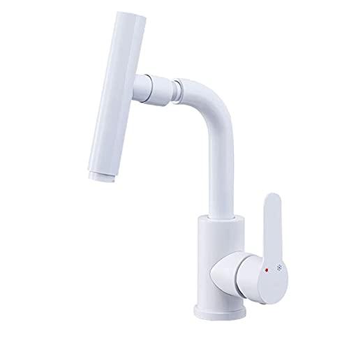 Juego de ducha Grifo mezclador de lavabo blanco Grifo giratorio para lavabo de baño Mezclador de agua caliente y fría Grifo para lavabo Monomando para lavabo Grifo para lavabo Grifo de tocador montad