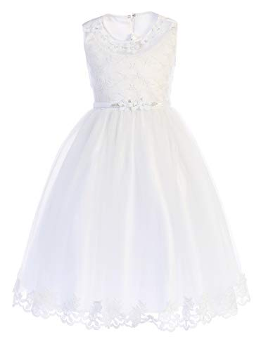 First Communion Dresses for Girls 7-16 Plus Size Tea Length (Size 12) White