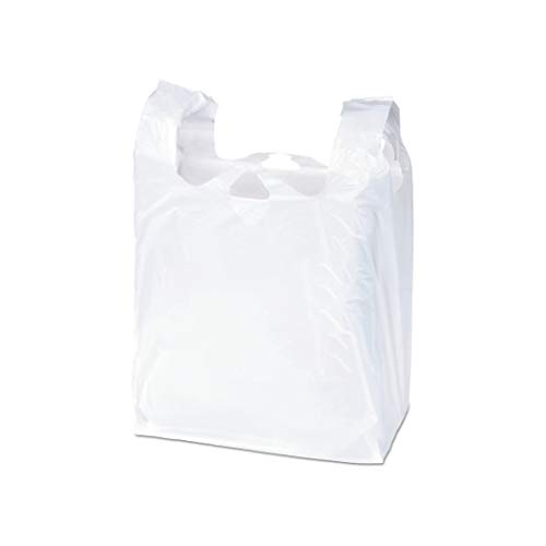 APQ Pack of 2000 White T-Shirt Plastic Bags 6 x 4 x 15. Plain T-Shirt Carry-Out Bags 6x4x15. Thickness 0.65 mil. Unprinted Shopping Grocery Bags. Handled Polyethylene Bags for Stores or Restaurants.