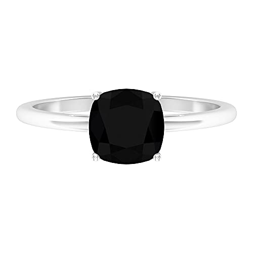 Rosec Jewels - Anillo solitario de 1,75 CT creado en laboratorio con diamante negro, 7 mm, corte cojín, anillo de compromiso negro, 14K Oro blanco, Diamante negro creado en laboratorio, Size:EU 50