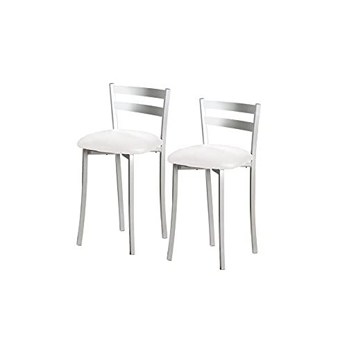 ASTIMESA TABFRBL Dos Taburetes de Cocina con Respaldo Franjas Metal Polipiel Blanco, Altura de Asiento: 45 cm