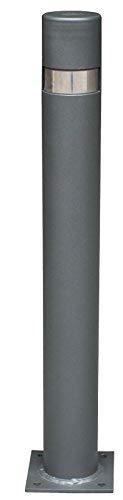 Pilona fija reforzada con placa inferior modelo City. Bolardo de hierro con parte superior en acero inoxidablede 95x800 mm para atornillar a suelo (1-Pilona)