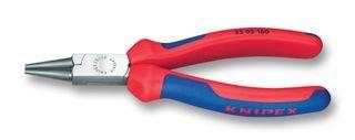 KNIPEX 22 02 160 Rundzange schwarz atramentiert mit Mehrkomponenten-Hüllen 160 mm