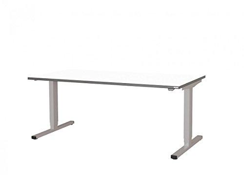 Schreibtisch höhenverstellbar Steh-/ Sitzarbeitsplatz elektischer Höhenverstellung Lieferung Frei Haus aufgebaut, Größe:B 1600 x T 800 mm (Standard);Farbe:Weiß;Zubehör:Sensor-Auffahrschutz (SAS)