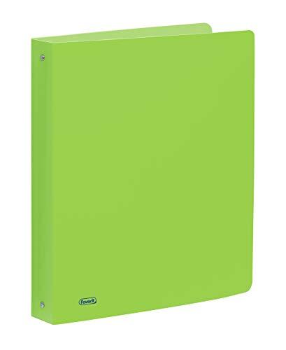 Favorit Raccoglitore in Polipropilene Neon, 22 x 30 cm, 4 Anelli Tondi da 30 mm, Verde Fluo