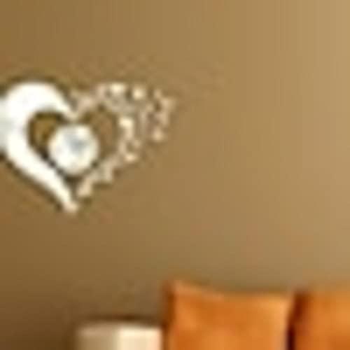 Reloj de Pared de Bricolaje,Calcomanías de Moda 3D Corazón Acrílico Espejo de Pared Pegatinas Reloj de Pared Redondo/40*60cm