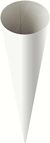 Heyda 204870070 Schultüten-Rohlinge (Höhe 70 cm, Durchmesser 19 cm, Karton, 380g/m²) weiß