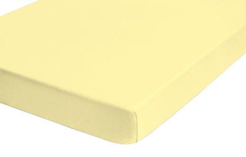 Preisvergleich Produktbild biberna 0077144 Feinjersey Spannbetttuch (Matratzenhöhe max. 22 cm) (Baumwolle) 140x200 cm -> 160x200 cm,  gelbfarbend