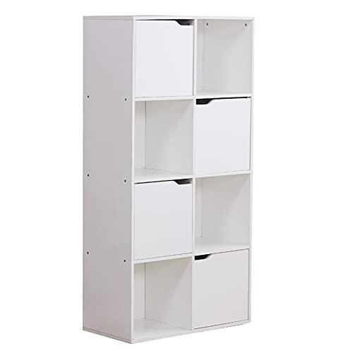 HNWNJ Estantería de almacenamiento con 8 compartimentos, panel trasero con 4 puertas, estantes de madera para el hogar, tablero de partículas, 60 x 29 x 119 cm, color blanco