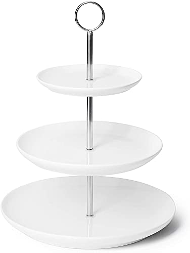 SPCIOM White Ceramic 3 Tier Porcelain Cupcake Stand for Afternoon Tea, Party Gatherings Birthday Anniversaries Celebrations Display set for Desserts Cakes Puddings Parties Food Platter Serving (12)