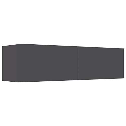Goliraya Mueble TV Pared de Aglomerado Gris/Gris Brillante 80 x 30 x 30 cm/100 x 30 x 30 cm/120 x 30 x 30 cm