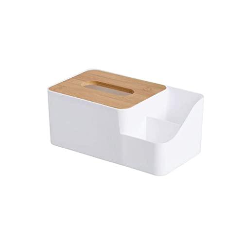 LAMZH Caja de pañuelos rectangular – plástico de bambú Plus, se puede utilizar como control remoto, caja de almacenamiento multifunción para teléfono móvil, color blanco