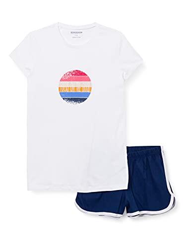 Schiesser Mädchen Schlafanzug kurz Pyjamaset, Weiss, 140