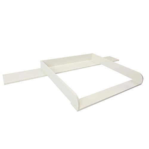 Puckdaddy Wickelaufsatz Lennard – 159,5x78x10 cm, Wickelauflage aus Holz in Weiß, hochwertiger Wickeltischaufsatz passend für IKEA Malm Kommoden, inkl. Montagematerial zur Wandbefestigung