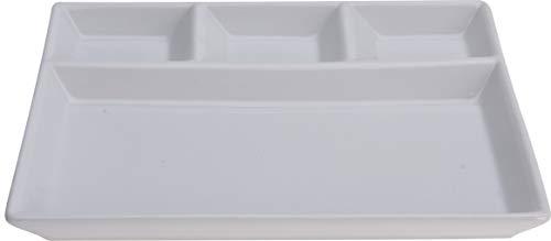 Servierplatte aus Keramik, 4 Fächer, Weiß