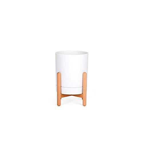 Fioriera Tree 01, Design Moderno in Legno Massello con Vaso Bianco in Polipropilene per Decorare Interni o Esterni, L 16.6X P 16.6 x H 26/33 cm