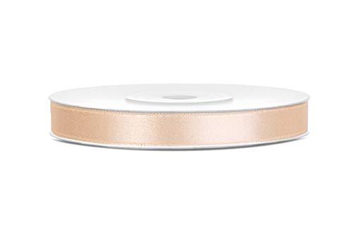 25m x 6mm Rolle Satinband Geschenkband Schleifenband Dekoband Satin Band (Creme)