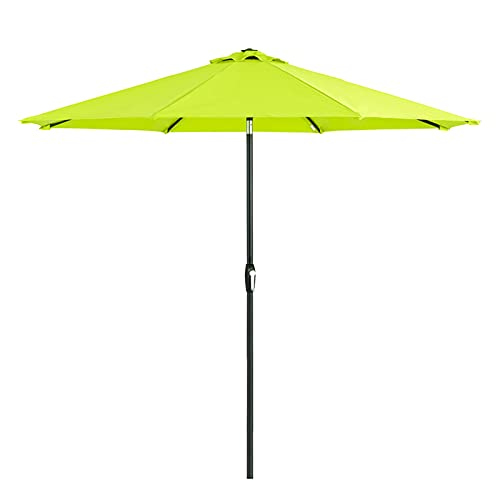 Tempera 9 ft Patio Umbrella Outdoor Patio Table Umbrella with Push Button Tilt and Crank, 8 Sturdy Ribs, Lime Green
