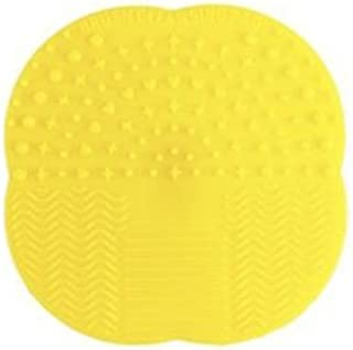 Makeup Brush Cleaner - Silicone Cleaning Mat - By Cuddle Shack Shop - Includes Suction Cup Grip Mount- Beauty Product (Yellow)