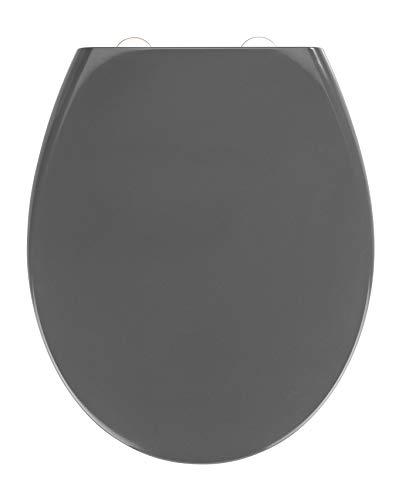 WENKO Premium WC-Sitz Samos Grau - Antibakterieller Toilettensitz mit Absenkautomatik, Duroplast, 37.5 x 44.5 cm, Dunkelgrau