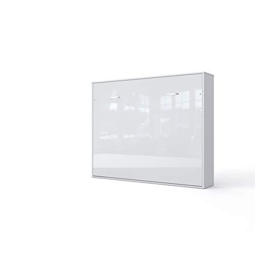 Invento Schrankbett Wandklappbett Horizontal Wandbett Bettschrank Funktionsbett Gästebett Klappbar Schrank mit integriertem Klappbett Gästezimmer Wohnzimmer Schlafzimmer 160x200 (Weiß/Weiß Glanz)