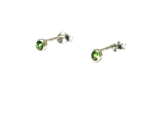 Art Gecko Small Tsavorite (Green Garnet) round shaped Sterling Silver Gemstone Stud Earrings 925-3 mm