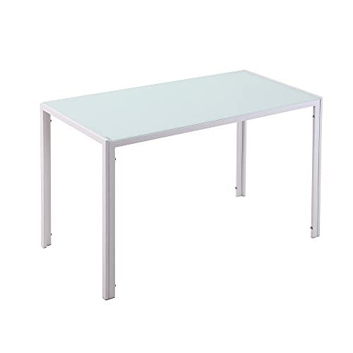 homcom Tavolo Moderno Rettangolare per Cucina e Soggiorno, Struttura in Metallo e Piano in Vetro Temperato, 120x60x75cm, Bianco