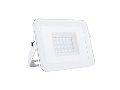 LED Fluter mit Befestigungsbügel zur Fassadenbeleuchtung, Outdoor Strahler weiß flaches Design, Außenwandleuchte 20Watt, IP65