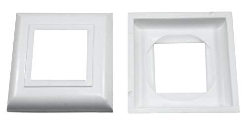 SN-TEC Abdeck Rosetten Eckig für Geländer | Rohre | Heizungen usw, Schwarz/Weiß/Grau (10 Stück) (Aussen 60x60mm / Innen 30x30mm, Weiß)