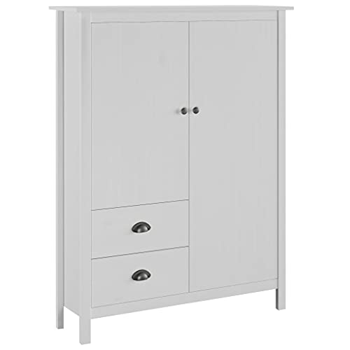 Skåp Garderober 2-dörrar garderob kulle räckvidd vit 99x45x137 cm massivt furu